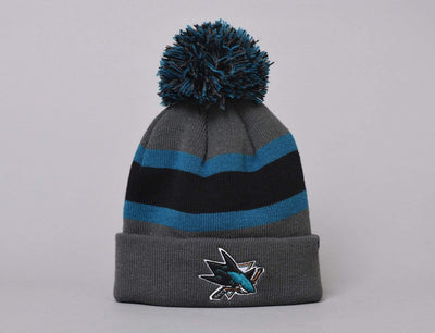 Beanie Bobble Breakaway Cuff Knit San Jose Sharks Charcoal 47 Bobble Beanie / Black / One Size