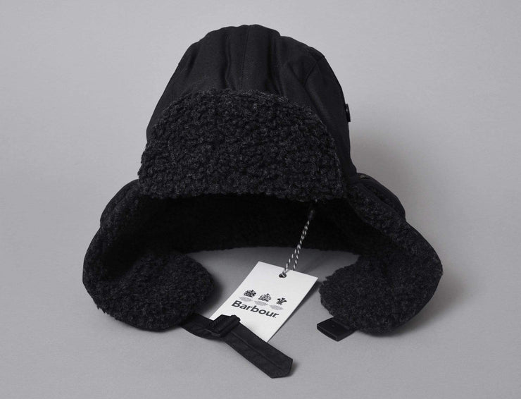 Beanie Trapper Fleece Lined Trapper Hat Black Barbour