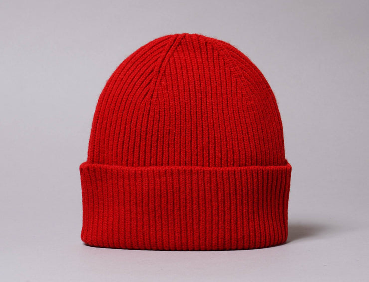 Beanie Cuff Merino Wool Beanie Scarlet Red Colorful Standard Cuff Beanie / Red / One Size