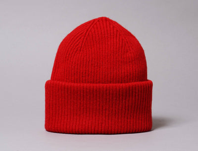 Beanie Cuff Merino Wool Hat Scarlet Red Colorful Standard Cuff Beanie / Red / One Size