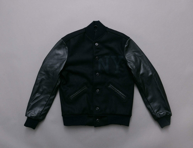 Ebbets Wool/Leather Authentic Jacket - Black on Black NY Black Yankees