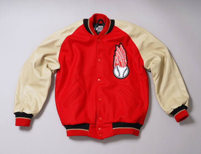 Clothing Jacket Ebbets Wool/Leather Authentic Jacket Rochester Red Wings 1950 Red/Tan Ebbets Field Flannels