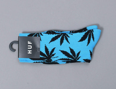 HUF Highlighter Plantlife Crew Sock Neon Blue