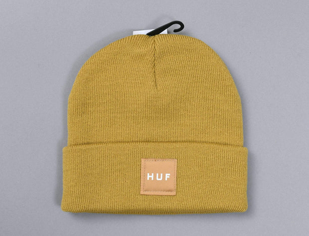 HUF Box Logo Beanie Honey Mustard