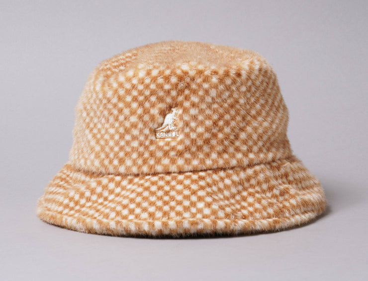 Hat Bucket Kangol Faux Fur Bucket Tan Check Kangol