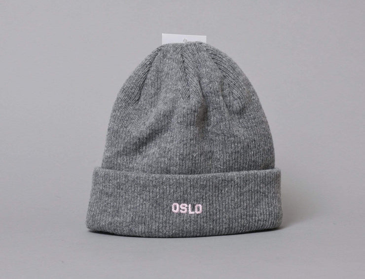 OSLO Wool Beanie Heather Grey/Pink
