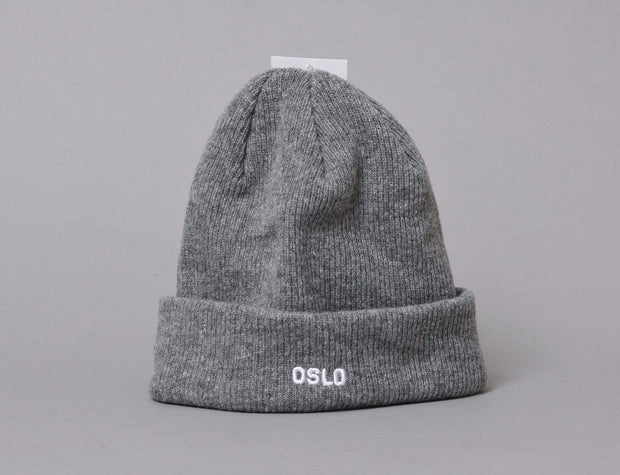 OSLO Wool Beanie Heather Grey/White