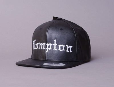 "Cap Snapback Compton Black Full ""Leather"" LOKK Snapback Cap / Black / One Size"