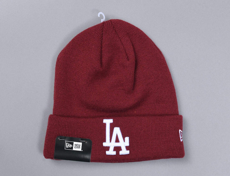 League Essential Cuff Knit LA Dodgers Cardinal/White