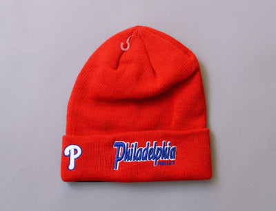 Beanie Cuff MLB Team Cuff Script Philadelphia Phillies New Era Cuff Beanie / Red / One Size