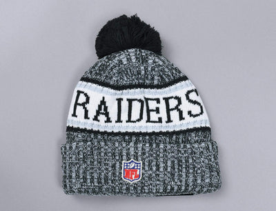 Beanie Bobble NFL Sideline 2018 Knit Oakland Raiders New Era Bobble Beanie / Team / One Size
