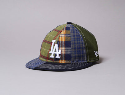 Cap Snapback 9FIFTY Retro Crown Korea Collection Check Block LA Dodgers Khaki New Era
