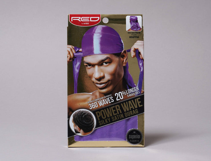 Beanie Durag Kiss Power Wave Silky Satin Durag Purple Red by Kiss Durag / Purple / One Size