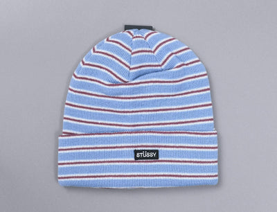 Stussy Striped Cuff Beanie Blue
