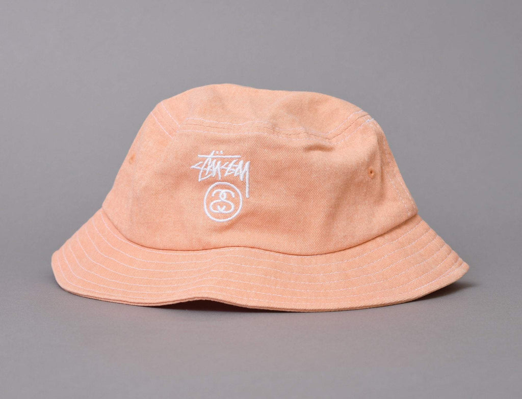 Stussy Washed Stock Lock Bucket Hat Orange