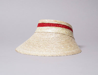 Sun Clip Visor Barn Palm Straw Red/Natural