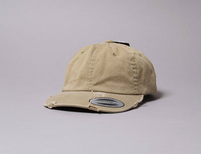 Cap Adjustable Low Profile Destroyed Cap Khaki Yupoong Adjustable Cap / Beige / One Size