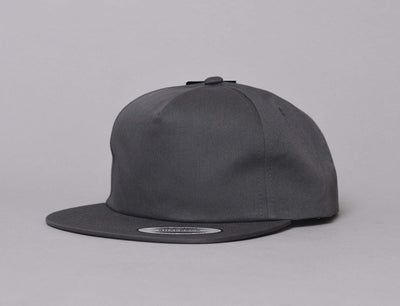 Yupoong 6502 Unstructured 5-Panel Snapback Cap Charcoal