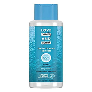 LOVE beauty AND planet CLEAN OCEANS EDITION SEA SALT & BERGAMOT deep detox SULFATE FREE SHAMPOO 13.5 FL OZ