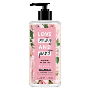 LOVE beauty AND planet MURUMURU BUTTER & ROSE delicious glow LOTION 13.5 FL OZ