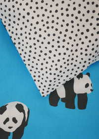 Pandas Organic Cotton Bedding (Aqua Blue)
