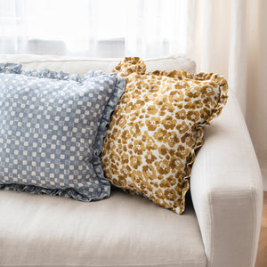 FAYE RUFFLE CUSHION - DOVE BLUE