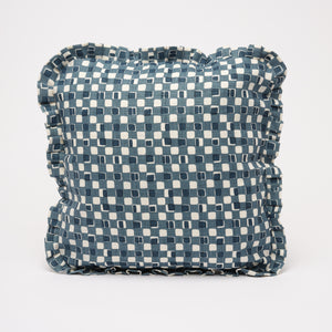 FAYE RUFFLE CUSHION - INDIGO