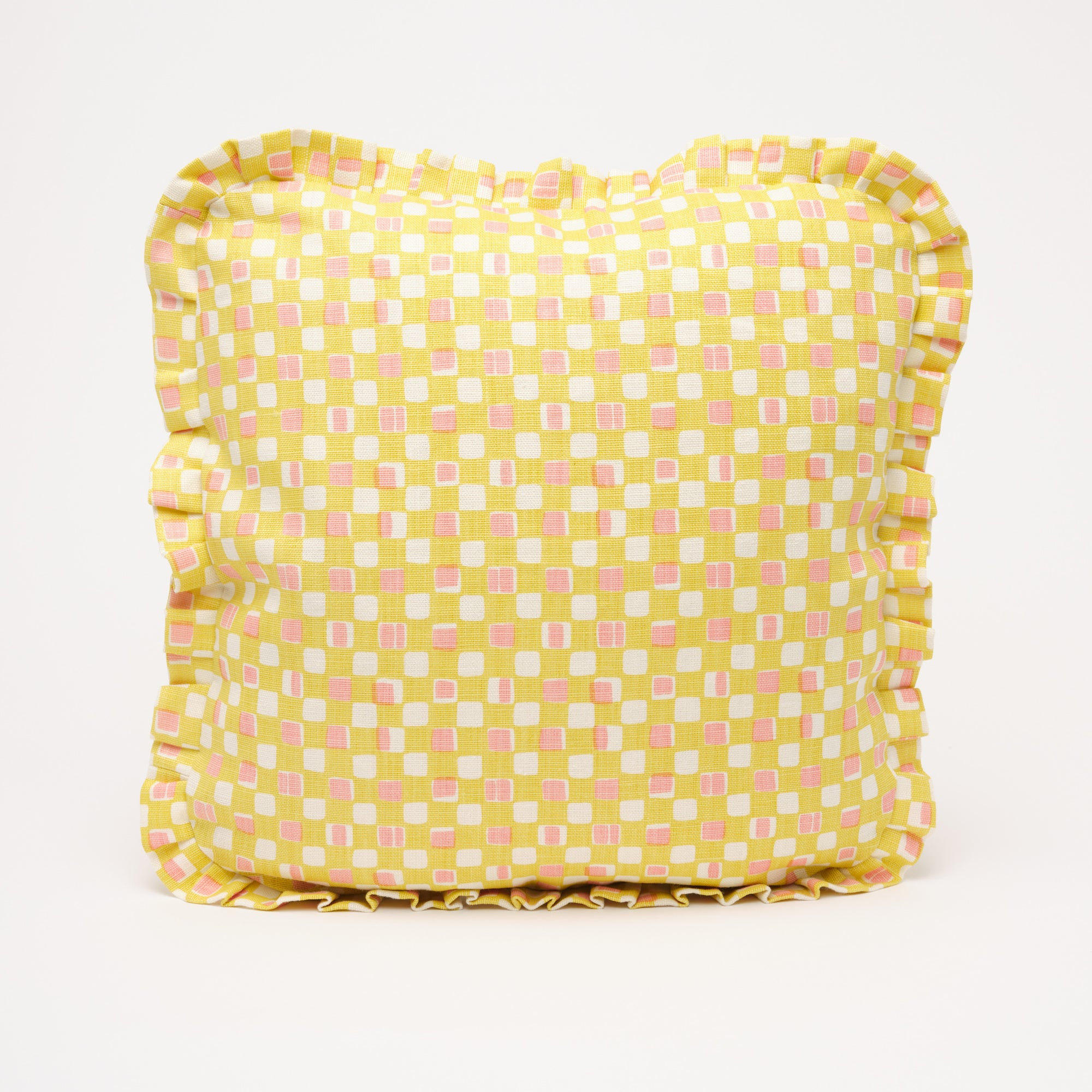 FAYE RUFFLE CUSHION - LEMON
