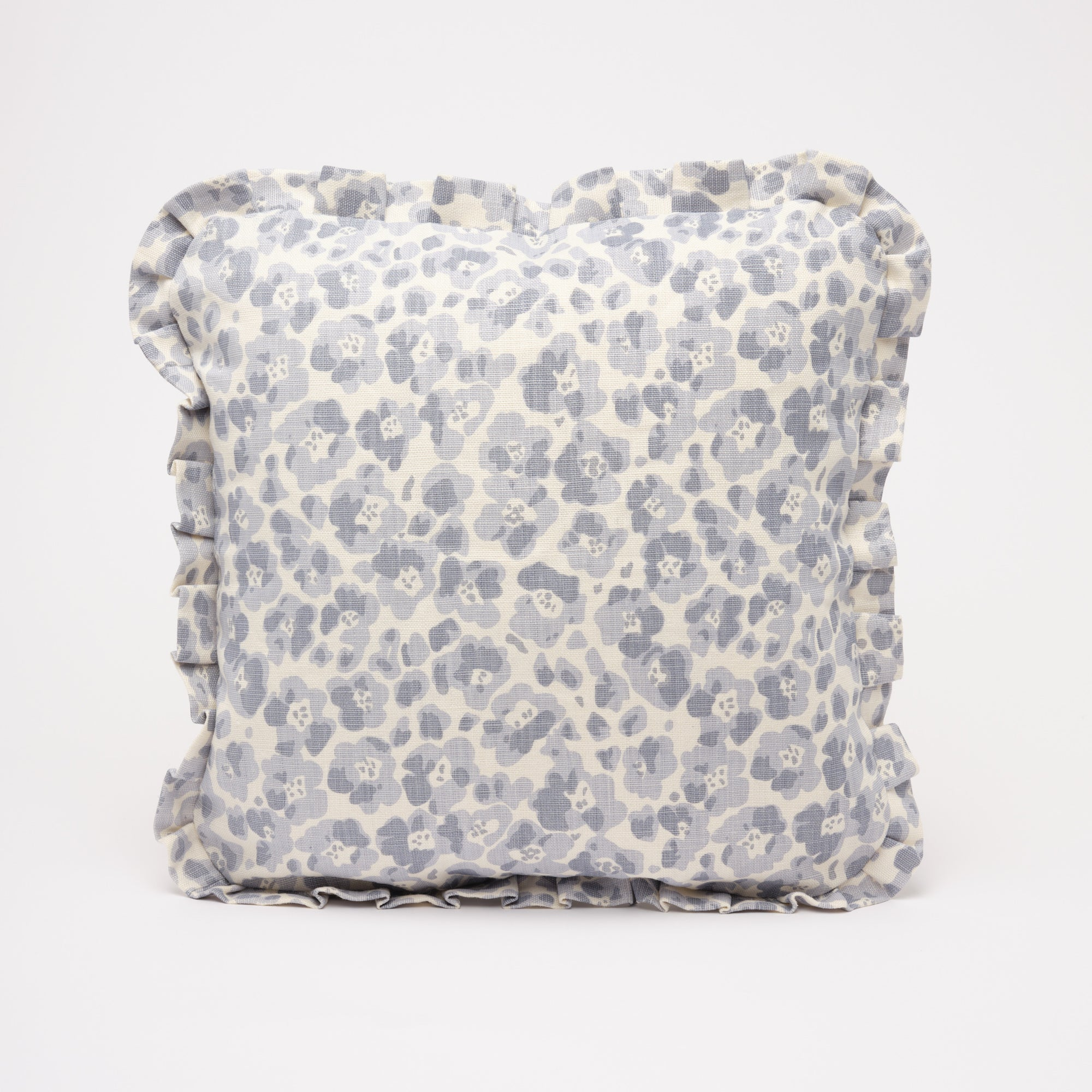 FLORENCE RUFFLE CUSHION - DOVE BLUE