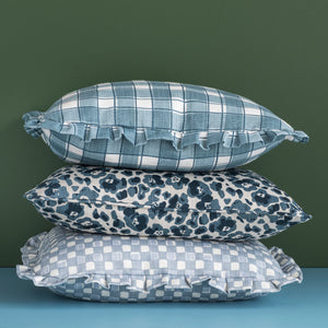 GINGHAM RUFFLE CUSHION - BLUE