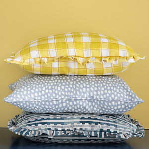GINGHAM RUFFLE CUSHION - YELLOW