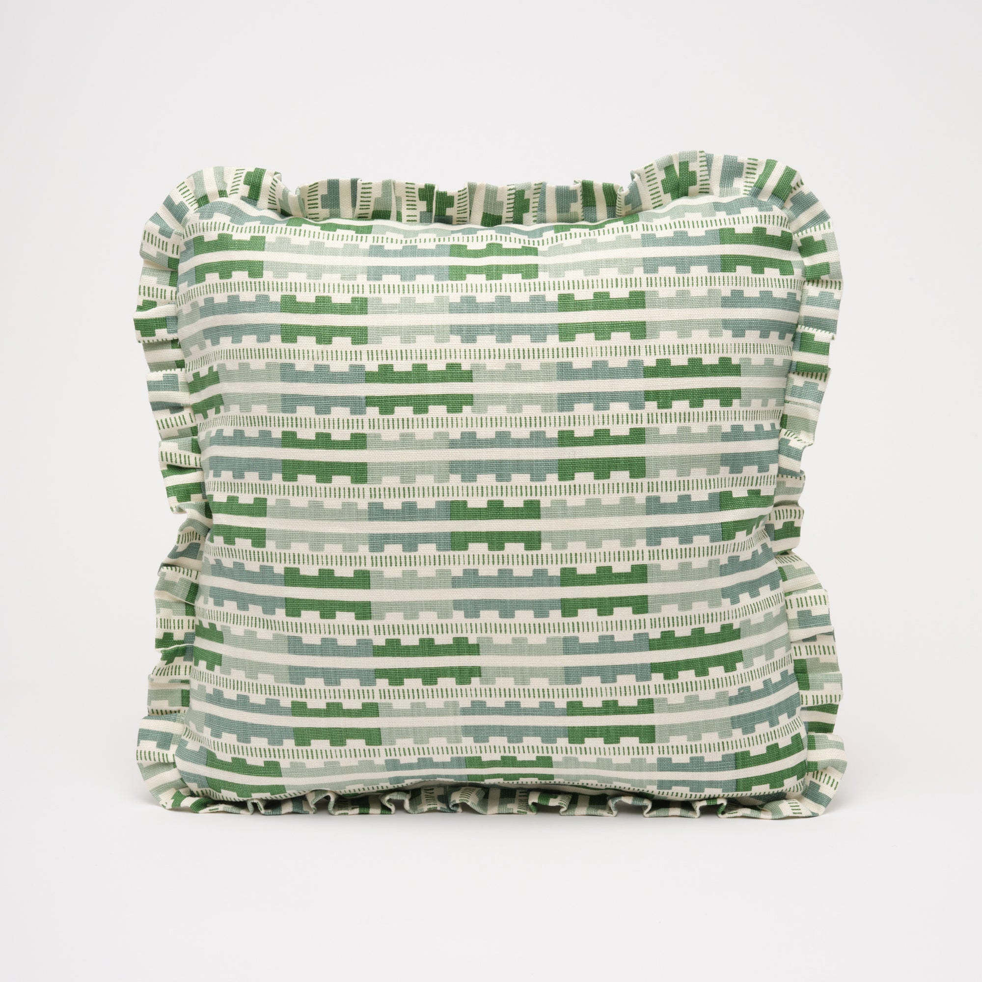 MARIANNE RUFFLE CUSHION - GREEN