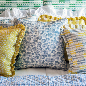 MARIANNE RUFFLE CUSHION - LEMON BLUE