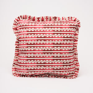 MARIANNE RUFFLE CUSHION - RED