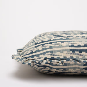 MARIANNE RUFFLE CUSHION - INDIGO NATURAL