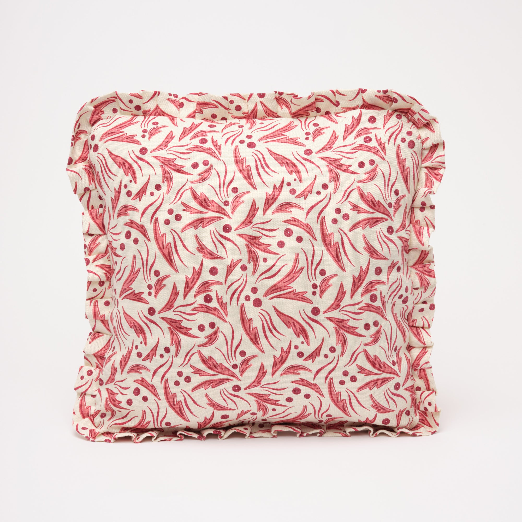 SOPHIA RUFFLE CUSHION - RASPBERRY