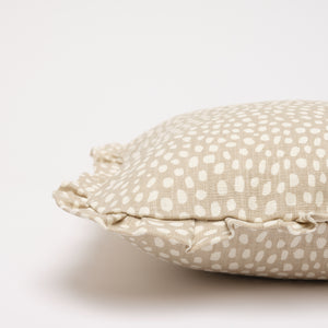 SPOTTY RUFFLE CUSHION - TAUPE