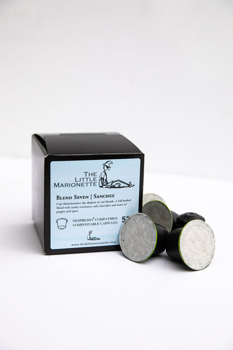 Sanchez Blend 7 compostable coffee pods by The Little Marionette