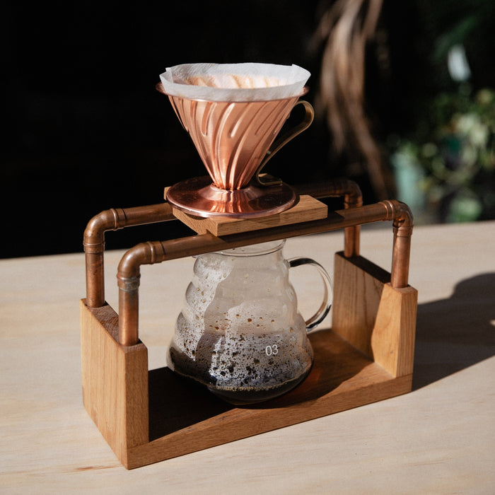Hario V60 copper dripper in use