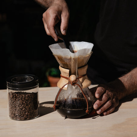Chemex classic coffee maker in use