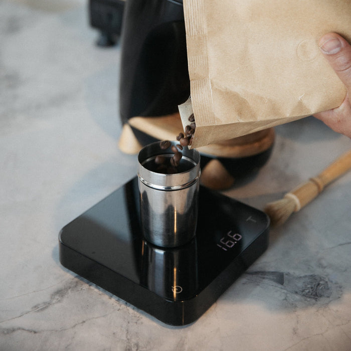 Acaia Lunar Coffee Scale in use