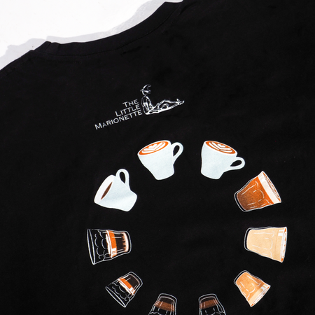 The Little Marionette tee with coffee cup print