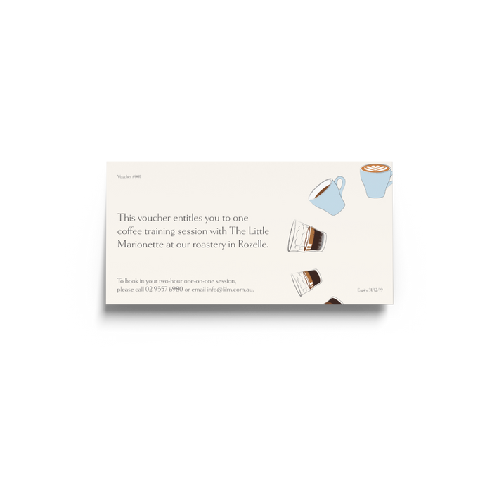 Barista training course voucher by The Little Marionette