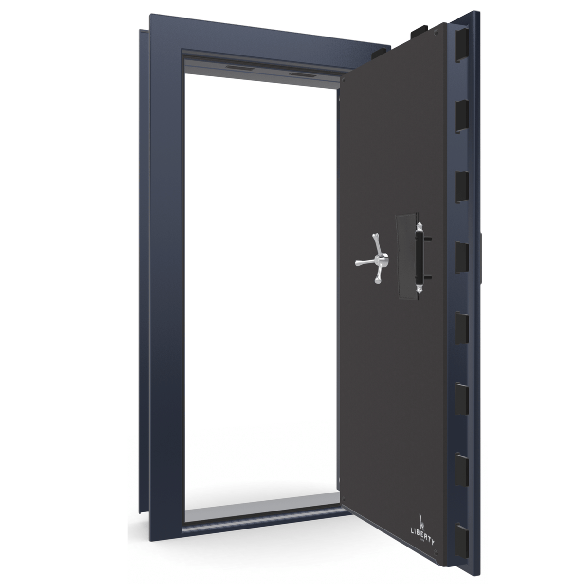 "Vault Door Right Outswing | Blue Gloss | Chrome Electronic Lock | 81-85""(H) x 27-42""(W) x 7-10""(D)"