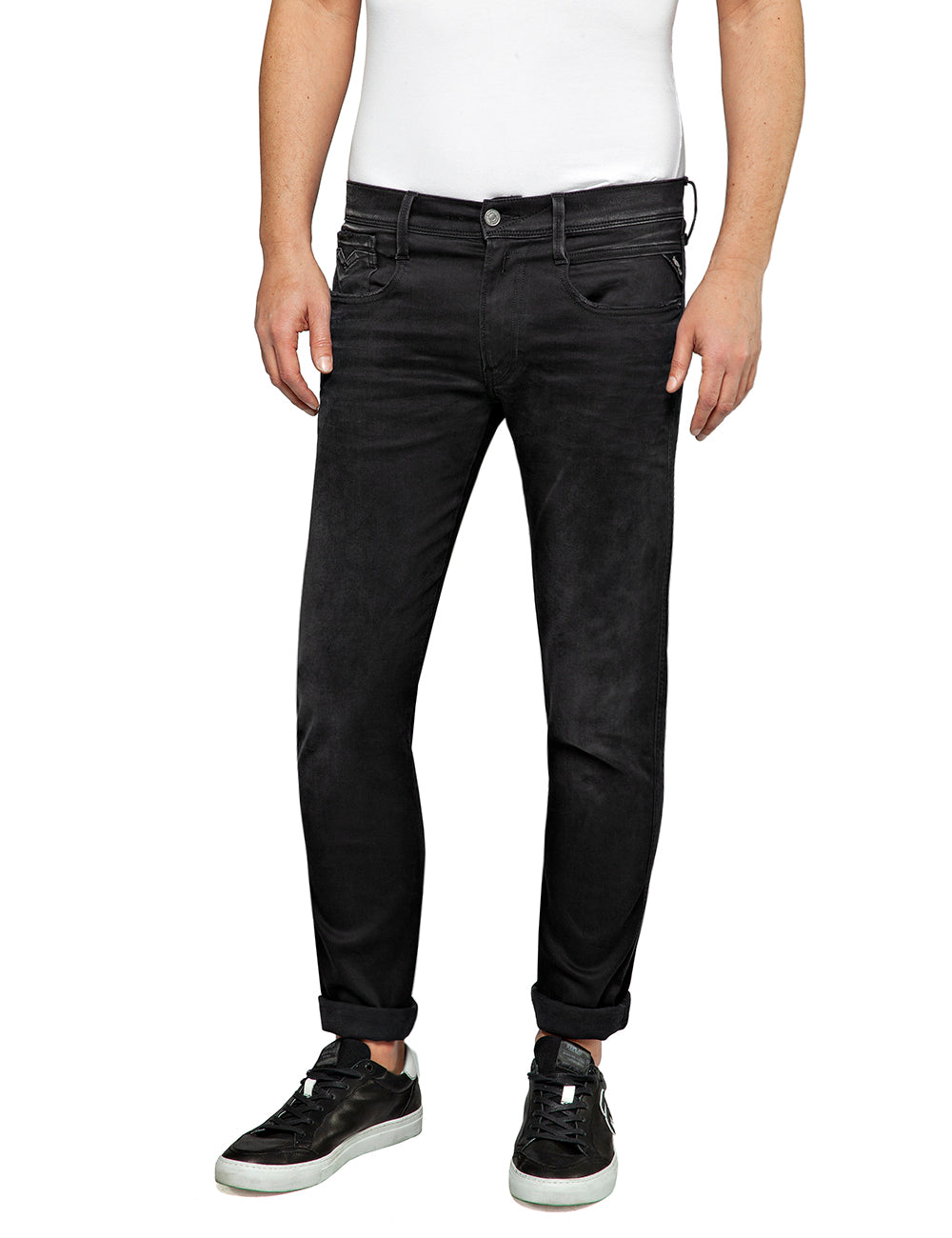 Replay Hyper-Flex Black Washed Stretch Jeans