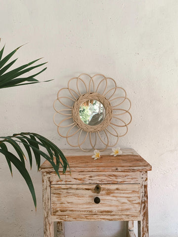Sunflower Rattan Mirror