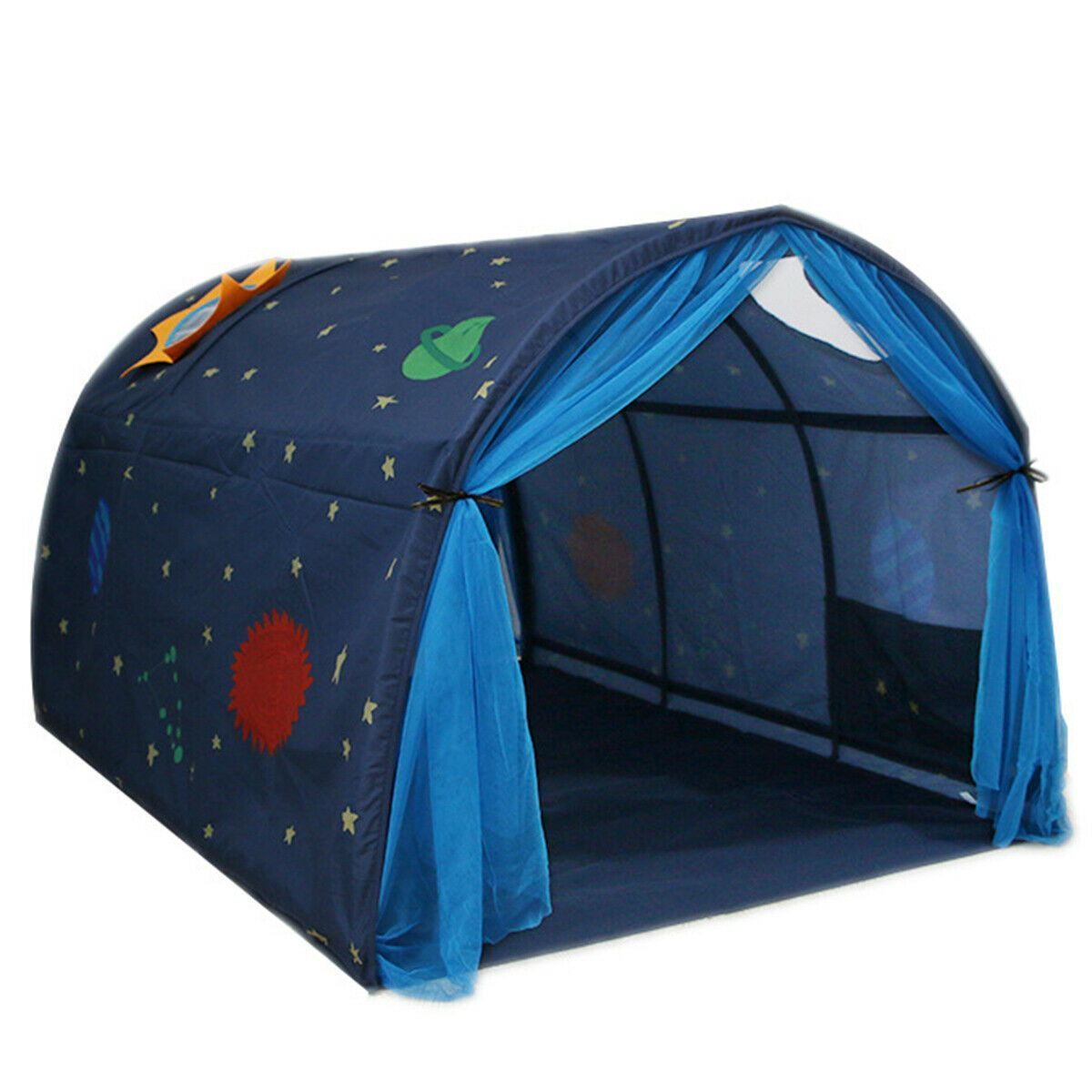 Premium Indoor Pop Up Bed Tent Kids Twin Size Over Bed Tent Topper