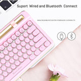 Retro Bluetooth + Wired Dual Mechanical 76 Key Keyboard Pc/Mac/Ipad