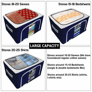 Foldable Fabric Storage Boxes For Clothes, Sarees, Bed Sheets, Blanket Etc.