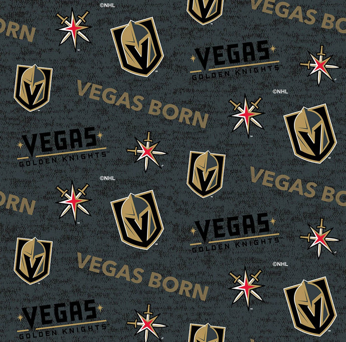 NHL Hockey Las Vegas Golden Knights Vegas Born Allover on Cotton